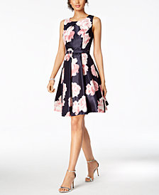 Jessica Howard Belted Floral-Print Fit & Flare Dress, Regular & Petite Sizes