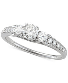 Diamond Trio Engagement Ring (3/4 ct. t.w.) in 14k White Gold