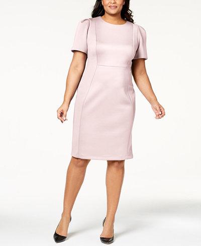 Calvin Klein Plus Size Puff-Sleeve Scuba Sheath Dress