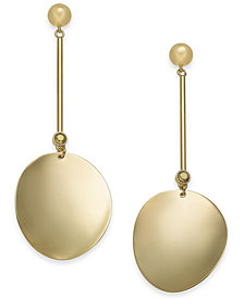 kate spade new york Gold-Tone Curved Disc Linear Drop Earrings