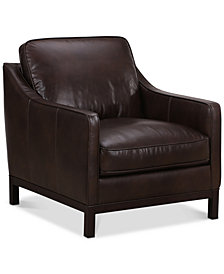 "CLOSEOUT! Benita 38"" Leather Armchair, Created For Macy's"