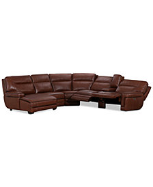 Myars 6-Pc. Leather Chaise Sectional Sofa With 2 Power Recliners, Power Headrests, And Console With USB Power Outlet, Created for Macy's