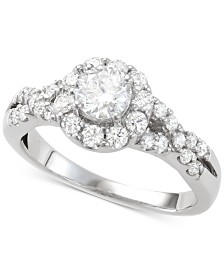 Diamond Halo Engagement Ring (1-1/7 ct. t.w.) in 14k White Gold
