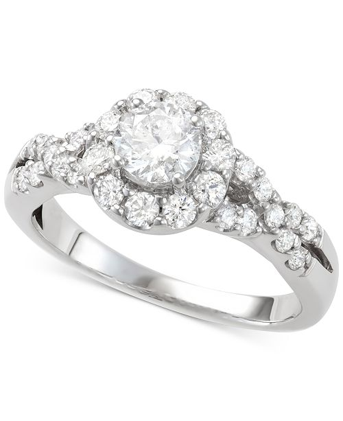 Macy's Diamond Halo Engagement Ring (1-1/7 ct. t.w.) in 14k White Gold