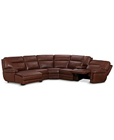 Myars 6-Pc. Leather Chaise Sectional Sofa With 1 Power Recliner, Power Headrest, And Console With USB Power Outlet, Created for Macy's