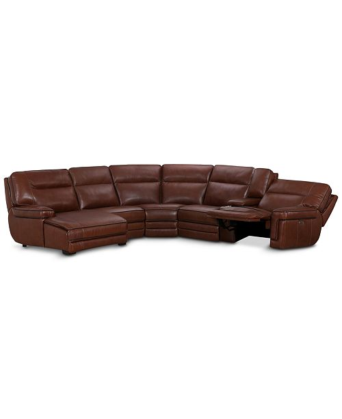 Furniture Myars 6-Pc. Leather Chaise Sectional Sofa With 1 Power Recliner, Power Headrest, And Console With USB Power Outlet, Created for Macy's
