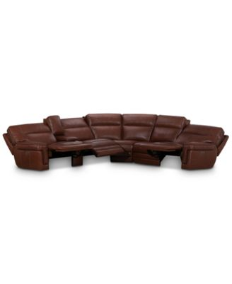"""Myars 6-Pc. """"L"""" Shaped Leather Sectional Sofa With 3 Power Recliners, Power Headrests, And Console With USB Power Outlet, Created for Macy's"""