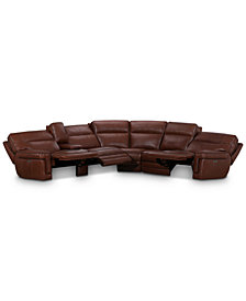 "Myars 6-Pc. ""L"" Shaped Leather Sectional Sofa With 3 Power Recliners, Power Headrests, And Console With USB Power Outlet, Created for Macy's"