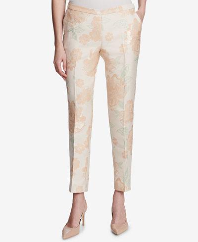 Calvin Klein Metallic Floral Print Pants