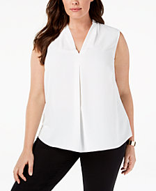 Nine West Plus Size V-Neck Pleat Shell