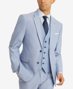 Men's Vintage Christmas Gift Ideas Tommy Hilfiger Mens Modern-Fit Th Flex Stretch Blue Chambray Suit Jacket $99.99 AT vintagedancer.com