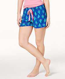 Jenni by Jennifer Moore Printed Ruffle-Trim Boxer Shorts, Created for Macy's