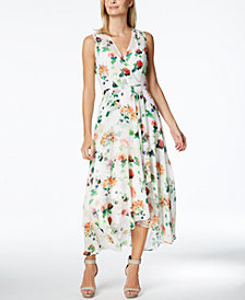 Calvin Klein Printed Chiffon Faux-Wrap Dress