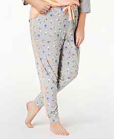 Jenni by Jennifer Moore Plus Size Printed Jogger Pajama Pants, Created for Macy's
