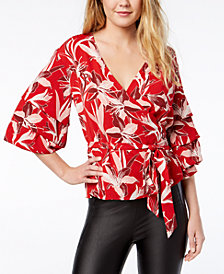 Bar III Printed Faux-Wrap Top, Created for Macy's
