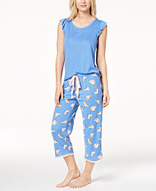 Jenni by Jennifer Moore Ruffle-Trim Pajama Top & Pants Sleep Separates, Created for Macy's