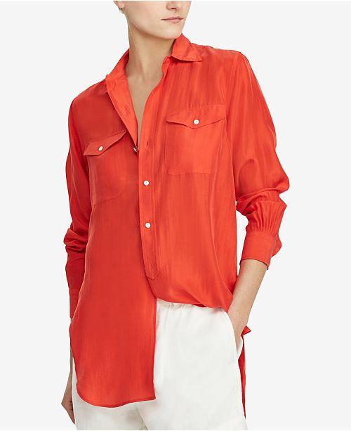 3969540220f10 Polo Ralph Lauren Elongated Silk Shirt   Reviews - Tops - Women ...