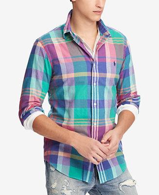 a1420beb Polo Ralph Lauren Men's Classic Fit Madras Shirt & Reviews - Casual  Button-Down Shirts - Men - Macy's
