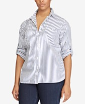 b4c7e0a3c Lauren Ralph Lauren Plus Size Striped Roll-Tab Shirt