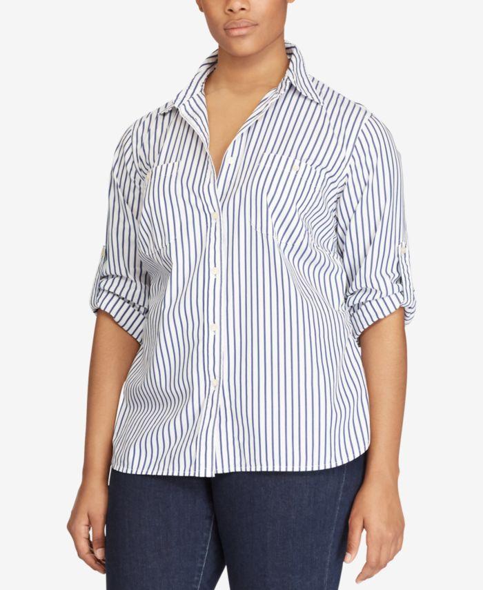 Lauren Ralph Lauren Plus Size Striped Roll-Tab Shirt & Reviews - Tops - Plus Sizes - Macy's