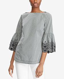 Lauren Ralph Lauren Petite Embroidered-Cuff Cotton Top