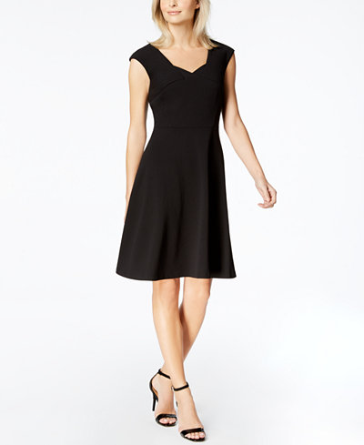 Calvin Klein Cap-Sleeve Fit & Flare Dress