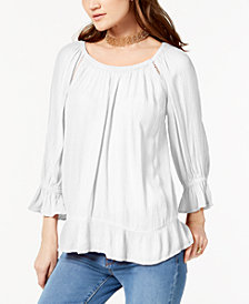 I.N.C. Crepe Peasant Top, Created for Macy's