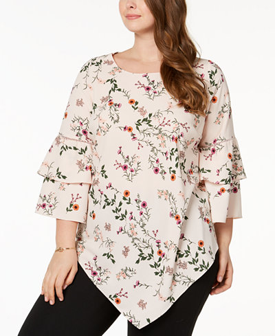 Alfani Plus Size Ruffle-Sleeve Pointed-Hem Tunic, Created for Macy's