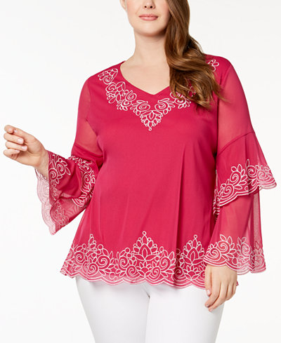 Alfani Plus Size Embroidered Spiral-Sleeve Top, Created for Macy's
