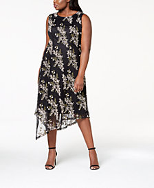 Alfani Plus Size Embroidered Asymmetrical-Hem Dress, Created for Macy's