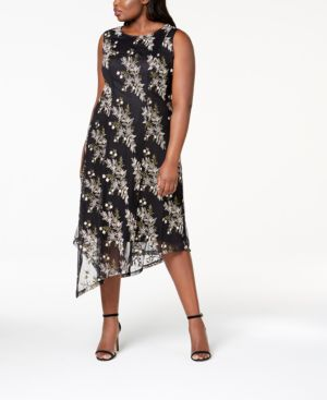 Image of Alfani Plus Size Embroidered Asymmetrical-Hem Dress, Created for Macy's