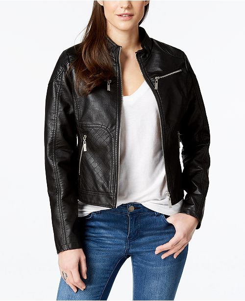 367cc2e48 Jou Jou Juniors' Faux-Leather Jacket & Reviews - Coats - Women - Macy's