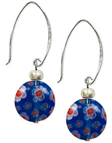 Jody Coyote Millefiori Glass Bead Drop Earrings in Sterling Silver & Silver-Plate