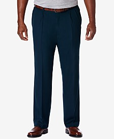 Haggar Men's Big & Tall Cool 18 PRO Classic-Fit Expandable Waist Pleated Stretch Dress Pants