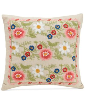 "Vera Bradley Coral Floral 16"" Square Decorative Pillow Bedding 5611961"