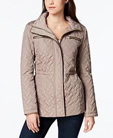 Signature Faux-Leather-Trim Quilted Anorak Coat