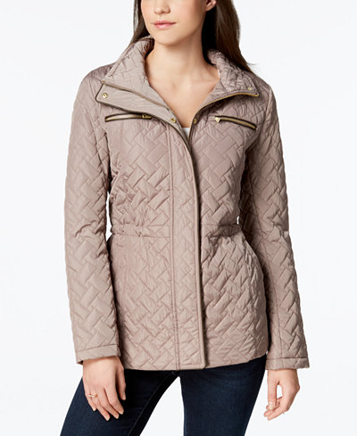 Cole Haan Signature Faux-Leather-Trim Quilted Anorak