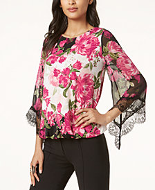 Alfani Lace-Trim Bubble-Hem Blouse, Created for Macy's