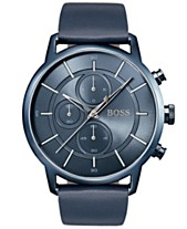 5880bb64a4412 BOSS Hugo Boss Men s Chronograph Architectural Blue Leather Strap Watch 44mm