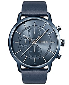 BOSS Hugo Boss Men's Chronograph Architectural Blue Leather Strap Watch 44mm