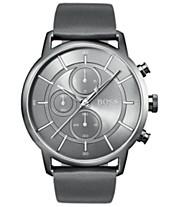 06de664fe298 BOSS Hugo Boss Men s Chronograph Architectural Gray Leather Strap Watch 44mm