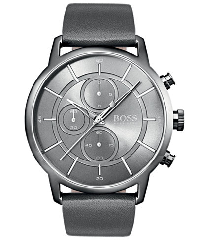 BOSS Hugo Boss Men's Chronograph Architectural Gray Leather Strap Watch 44mm
