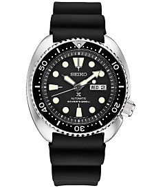 Seiko Men's Automatic Prospex Diver Black Silicone Strap Watch 45mm SRP777