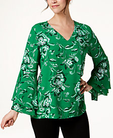 Alfani Printed V-Neck Poet-Sleeve Top, Created for Macy's