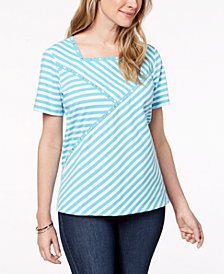 Alfred Dunner Petite Turks & Caicos Embellished Stripe Top