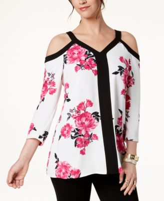 Floral-Print Cold-Shoulder Top, Created for Macy's