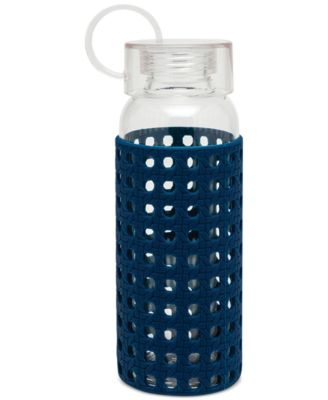 Glass Water Bottle, Navy Caning