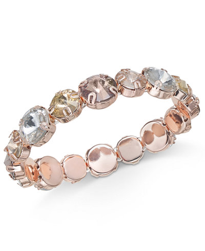 Anne Klein Rose Gold-Tone Multi-Stone Stretch Bracelet