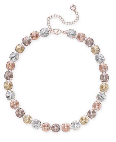 Anne Klein Rose Gold-Tone Multi-Stone All-Around Necklace