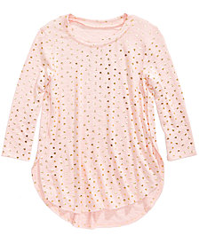 Love, Fire Heart-Print Space-Dyed Hacci Top, Big Girls